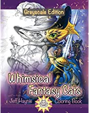 Whimsical Fantasy Cats: Greyscale Edition