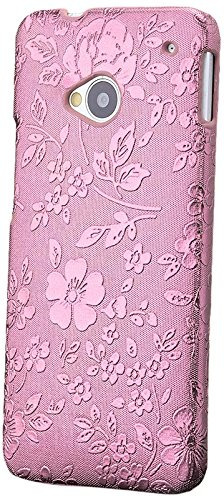 iCues | Compatible with HTC One M7 | Chrome Flower Case Rose | [Screen Protector Included] Floral Cover Crystal Diamond Rhinestone Bling Shell Glitter Women Girl