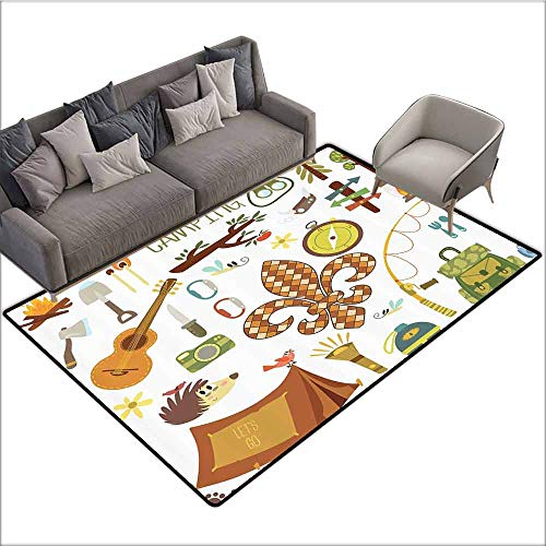 Entrance Modern Area Rugs Fleur de Lis,Camping Equipments Boy Scout Campfire Symbol Fishing Lure Fancy Decorations Lake,Brown Mustard Green White 48
