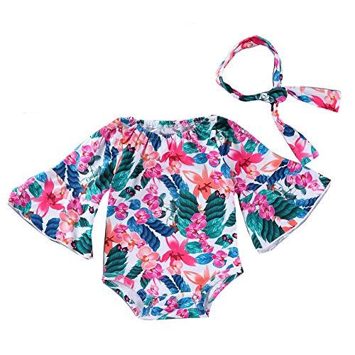 Newborn Baby Girl Floral Bodysuit+Headnband 2pcs Summer Flare Sleeve Fashion Jumpsuit 0-24Months (12-18 Months, Summer Style)