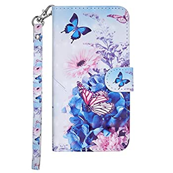Edauto iPhone Xs Max Case, iPhone Xs Max 3018 Case Wallet 3D Painting Leather Cover Kickstand Card Slot Shockproof Bumper Magnetic Closure Shell Skin Stylus Pen for iPhone Xs Max 6.5'' - Butterfly