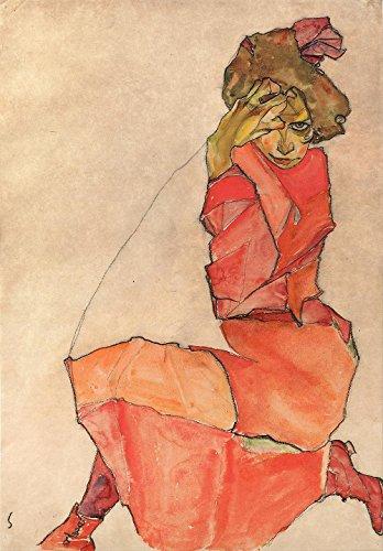 La Sortie Du Musée - Schiele - Femme Agenouillée En Robe Orange-rouge - Affiche Print Acheter En Ligne (40 X 50 Pouces)