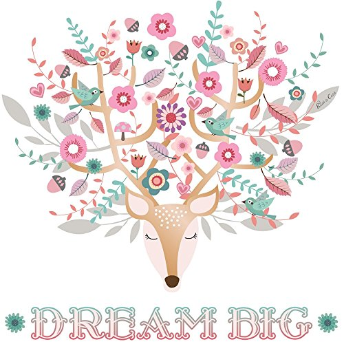 Kath & Cath Deer Head, Flowers and Birds Dream Big Wall Stickers - Vinyl Removable Self-Adhesive Multi-colour Wall Mural Art Decoration (Pink)