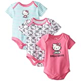 Hello Kitty Baby Girls' Value Pack Bodysuits, Pink/Mint, 0-3 Months