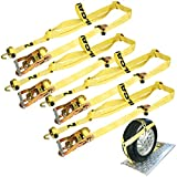 Vulcan Classic Basket Style Auto Tie Down System With Rolling Idler - 3300 lbs. SWL (Pack of 4)