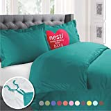 Nestl 2pc Bedding Duvet Cover & Pillow Sham Set, Twin, Teal Blue Deal (Small Image)