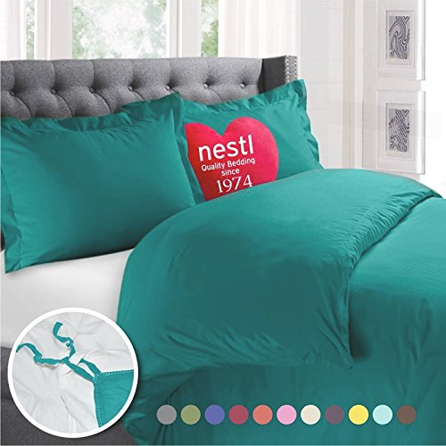 Nestl Bedding Duvet Cover, Protects and Covers your Comforter / Duvet Insert, Luxury 100% Super Soft Microfiber, King Size, Color Teal Blue, 3 Piece Duvet Cover Set Includes 2 Pillow Shams