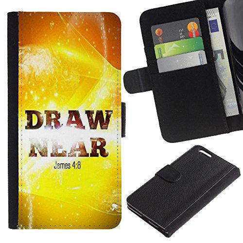 EuroCase - Apple Iphone 6 PLUS 5.5 - JAMES 4:8 DRAW NEAR - Cuir PU Coverture Shell Armure Coque Coq Cas Etui Housse Case Cover
