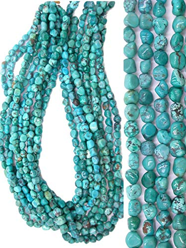 - Genuine Turquoise Long Drilled Freeform 5x6-7mm Nugget Beads, 16 inch Strand