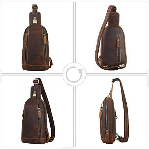 bolso para de Leathario hombre autentico pecho bolso diario gran estilo retro de Oscuro hombre color mochila con capacidad Marrón de 1 de sintetica piel cuero de marrón qttHz