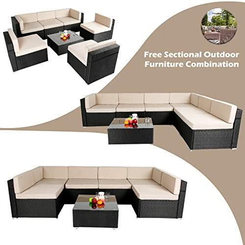 AECOJOY 7 Piece Patio PE Rattan Wicker Sofa Set, Outdoor Sectional Conversation Furniture Chair Set with Cushions and Table, Black    Product Description