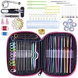 Jasinber Set de 100 Set de ganchillo, 100 piezas con hilo de tejer agujas de coser herramientas, herramientas de artesanía bricolaje (100 Pcs)