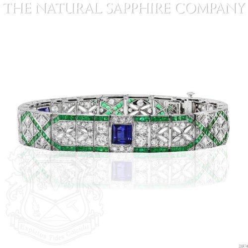 Art Deco Platinum and Diamond Bracelet with 3 central sapphires and calibre emeralds (Art Deco Platinum Diamond Sapphire)