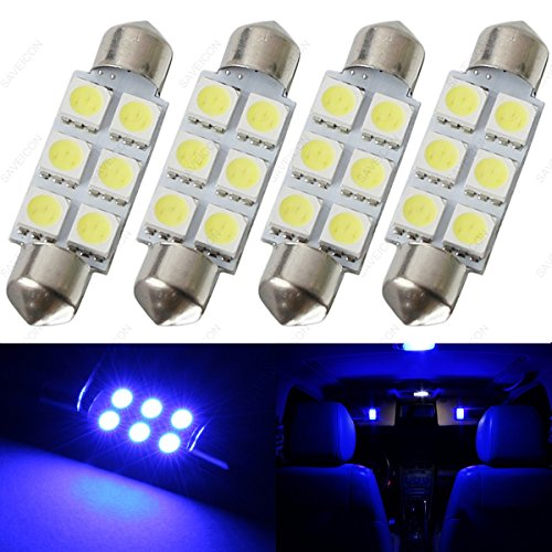 SAWE - 44MM 6-SMD 5050 Festoon Dome Map Interior LED Light Bulbs Lamp For 6411 578 211-2 212-2 (4 pieces) (Blue)