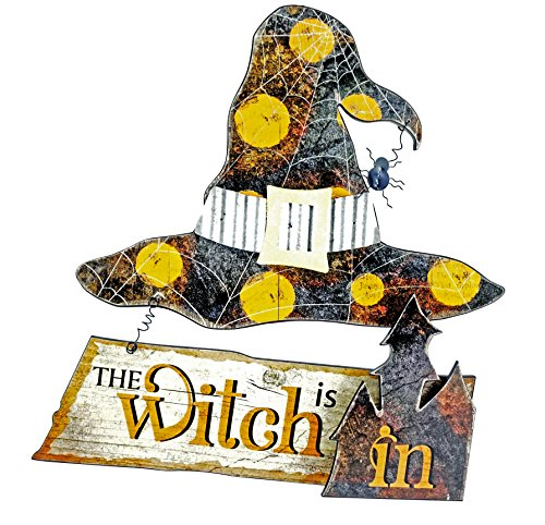 Halloween Witch Sign - Gerson The Witch is In or Out Hanging Halloween Sign