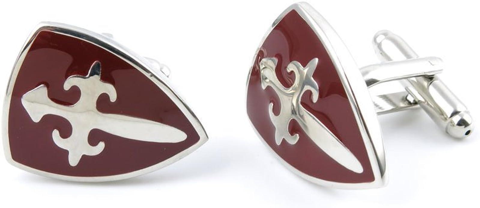 Gemelos Cuff Links 06334 marrón escudo espada para hombre Vintage regalo para esmoquin camisas boda Party: Amazon.es: Joyería