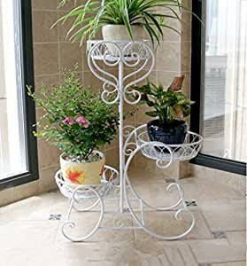 Racks de flores, hierro Múltiples capas de balcón Sala de estar interior y exterior Bandeja de estilo europeo Estante de flor Estante de flor 52 * 28 * 75cm ( Color : Blanco )