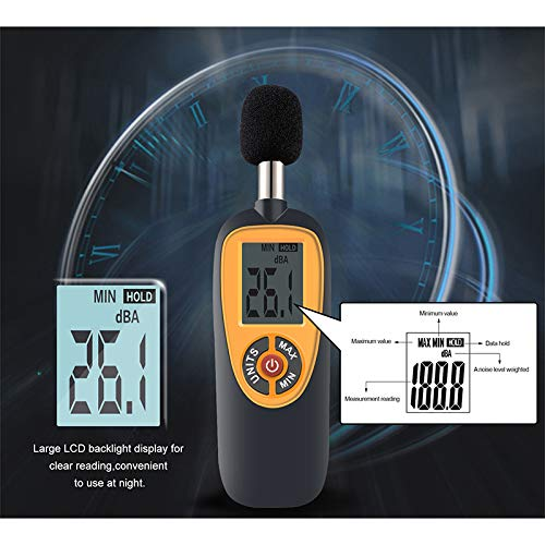 XGUANMETER Decibel Meter Data Hold Auto Power Off Dual Ranges HT-90A 130 dB Audio Noise Measure Device Backlight MAX//MIN Digital Sound Level Meter 30