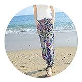 better-caress TingYiLi Boho Print Summer Beach Chiffon Pants Slim Casual Harem Pants,Blue,M