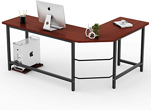Tribesigns Modern L-Shaped Desk Corner Computer Desk PC Laptop Study Table Workstation Home Office, Wood Metal Mahogany Brown
