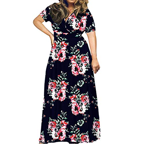 45 Width Overall - Lotus.Flower Womens Fashion Plus Size Print Short Sleeve Loose Plain Casual Long Maxi Dress Dark Blue
