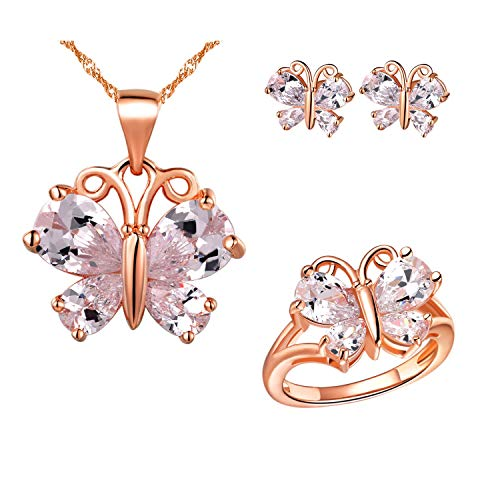 Uloveido White Crystal Fashion Butterfly Necklace Studs Earrings Halo Anniversary Rings Jewelry Set for Women Bridal Wedding T236