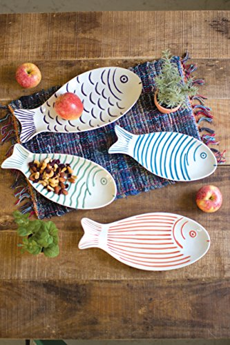 SET OF FOUR CERAMIC FISH (Green Fish Platter)