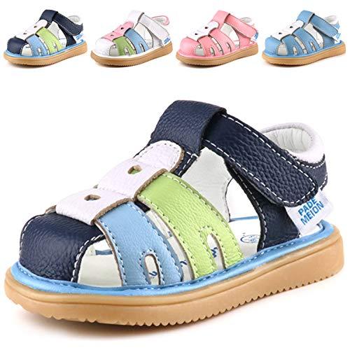 Femizee Toddler Boys Girls Leather Sandals Kids Closed Toe Outdoor Casual Fisherman Sandal,Deep Blue,1227 CN26