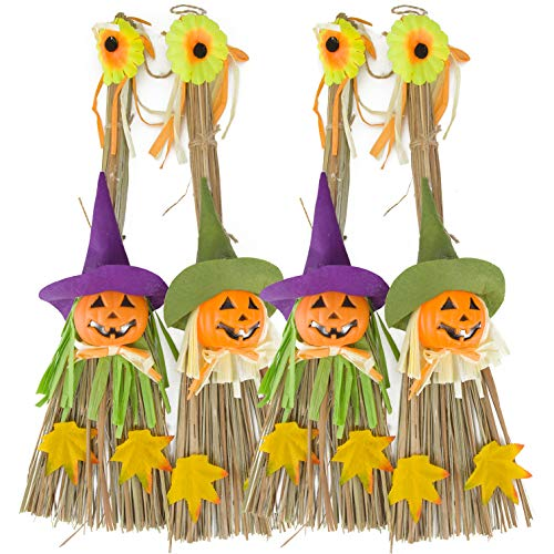 4 Pack Halloween Scarecrow Decoration Hanging Doll Witch Pumpkin Straw Broom Party Costumes Props for Holiday Ghost Festival Front Yard Patio Lawn Garden Outdoor Decor Kids Favor, 20 Inch
