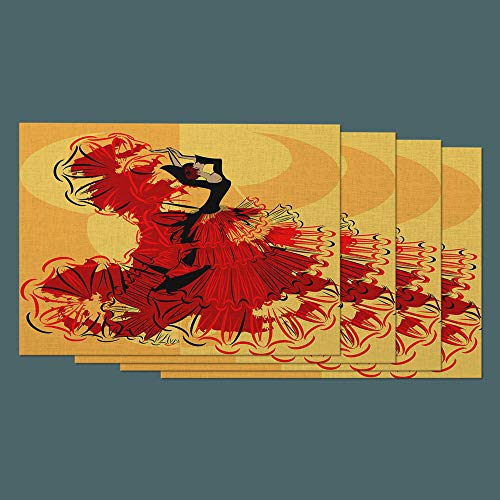 Moslion Woman Place Mats Set of 4. Spanish Girl Dance in Red Black Dress Flamenco Cotton Linen Placemats 12x18 Inch for Dinner Kitchen Table Dining Room -