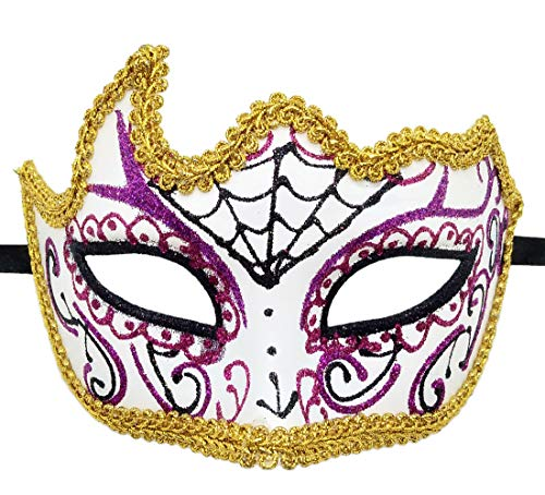 Biruil Women's Day of The Dead Mask Sugar Skull Half Face Mexican Masquerade Eyemask (Corner White) ()