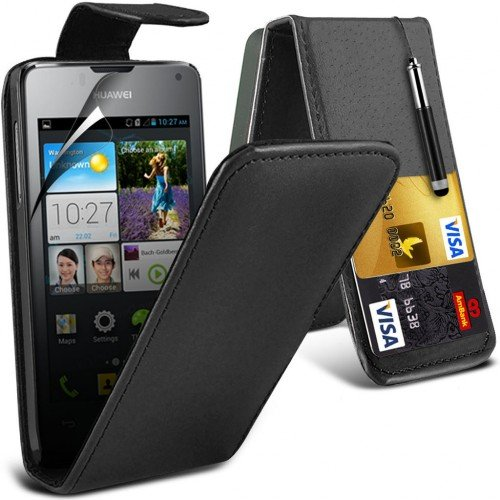 huawei-ascend-y300-leather-flip-case-cover-blackplus-free-gift-screen-protector-and-a-stylus-pen-ord