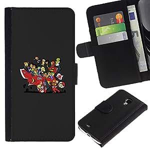 KLONGSHOP // Tirón de la caja Cartera de cuero con ranuras para tarjetas - Historieta japonesa divertido - Samsung Galaxy S4 Mini i9190 //