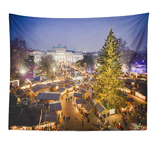 Kayel Polyester Fabric Tapestry Vienna Traditional Christmas Market Blue Sunset Europe Wall Hanging Tapestry,Daily Decorative Tapestry for Bedroom Living Room Dorm 60L x 80W inches