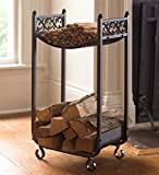 Compact Log Rack, Cast Iron with Scrollwork Design, in Black