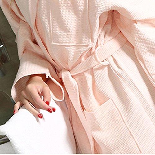 Amazon.com: eDealMax algodón de la señora Waffle Albornoz Kimono ceñido Traje del balneario de la rodilla-longitud ropa de dormir XXL rosa: Home & Kitchen