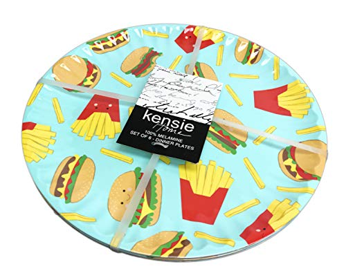 Plate Melamine 10.5 (Cheeseburgers and French Fry Foodie Themed Set of 6 Novelty Melamine Dinner Party Plates)