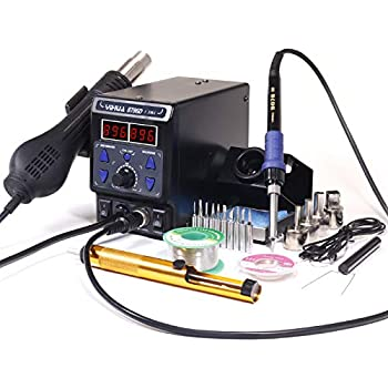 YIHUA 8786D I 2 in 1 Hot Air Rework and Soldering Iron Station with °F /°C, Cool/Hot Air Conversion, Digital Temperature Correction and Sleep Function