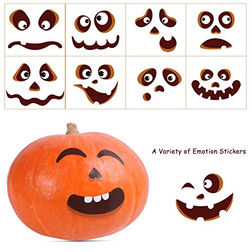 TOYANDONA TOYMYTOY 60pcs Pumpkin Face Stickers Halloween Jack-O-Lantern Decorations Removable Paper Self-Adhesive Faces Expressions Stickers]()