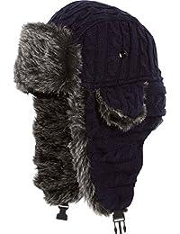 Sakkas Turner Unisex Ribbed Knit Faux Fur Lined Chin Strap Winter Trooper Hat