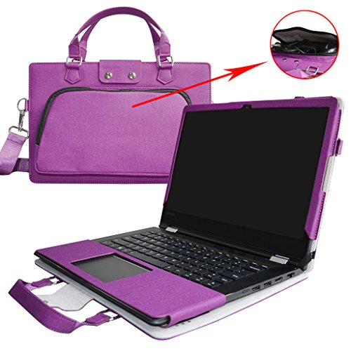 Flex 4 14 Case,2 in 1 Accurately Designed Protective PU Leather Cover + Portable Carrying Bag for 14 Lenovo Flex 4 14 1435 1470 1480 2-in-1 Laptop(Not fit Flex 5/Flex 4 15.6 & 11.6),Purple
