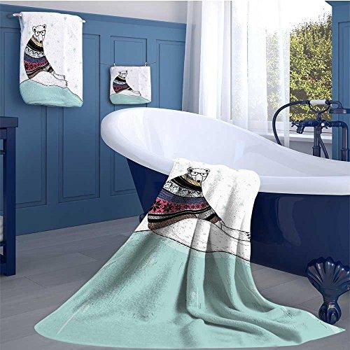 (alisoso Bear Soft Luxury Bath Sheet Set Hipster Polar Bear with Fair Isle Style Sweater Sitting on Ice Christmas Snowflakes Bath towel 3D digital printing set Multicolor)