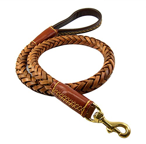 OCSOSO® Durable 3.6ft Long Brown Genuine Leather Braided Pet Dogs Leash Training Lead for Large Dogs With Soft Handle 1Inch Wide by OCSOSO