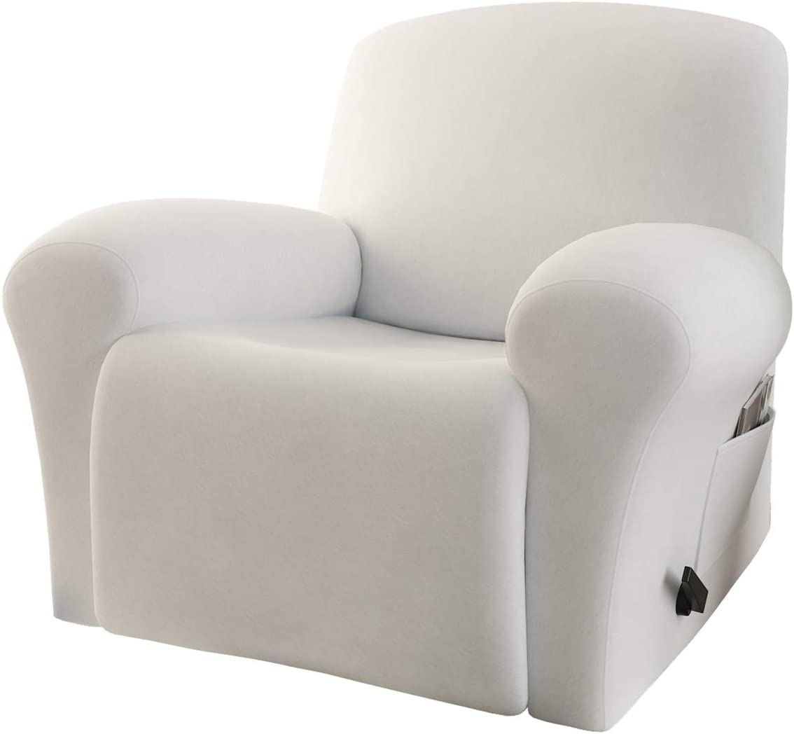 Rose Home Fashion RHF 4 Separate Piece Velvet Recliner Slipcovers, Recliner Chair Cover, Recliner Cover Furniture Protector Elastic Bottom, Recliner Slipcover with Side Pocket (Ivory-Recliner)
