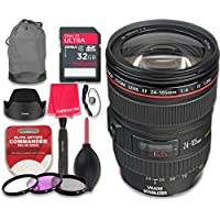 Canon EF 24–105mm f/4L IS USM Lens with 32GB Ultra Pro Speed Class 10 SDHC Memory Card + 3pc Filter Kit (UV-FLD-CPL) + Deluxe Sleeve + Celltime Microfiber Cleaning Cloth - International Version