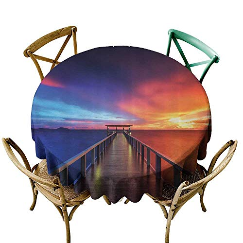 Washable Round Tablecloth Giclee Bathroom Art Decor Collection Beach Theme Seascapes Sunset Bridge Painting Pictures Phuket Lagoon Table Cover for Kitchen Dinning Tabletop Decoratio 40 INCH Blue Red