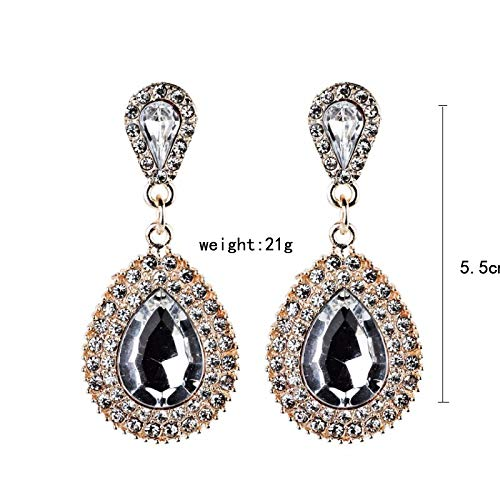 Bohemia Bridal Drop Earrings Fashion Jewelry Luxury Dangle Crystal Earrings for Women - Neicoh (White)