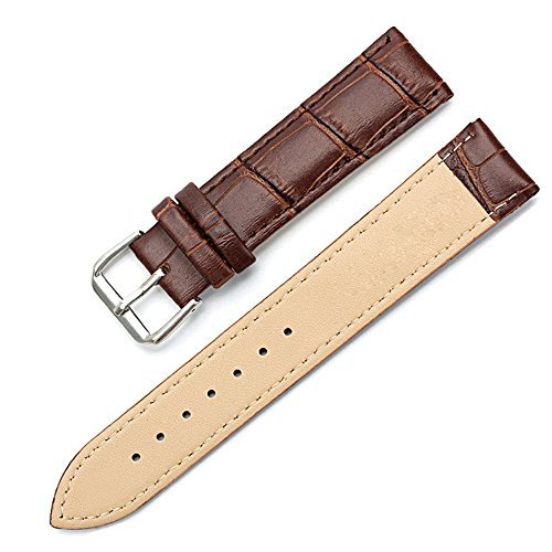 ESTD Unisex Faux Leather Watch Strap Buckle Band Brown 20mm