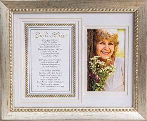 In Loving Memory Sentiment Memorial Picture Frame- Silver Sympathy - Poems Loving Memory