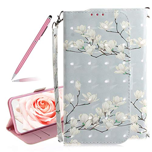 SKYXD 3D Colorful Painted Magnolia Flowers Pattern Soft PU Leather Case for Huawei P30, Luxury Shiny Flip Folio Wallet Magnetic Closure Kickstand Feature with Wrist Strap for Huawei P30